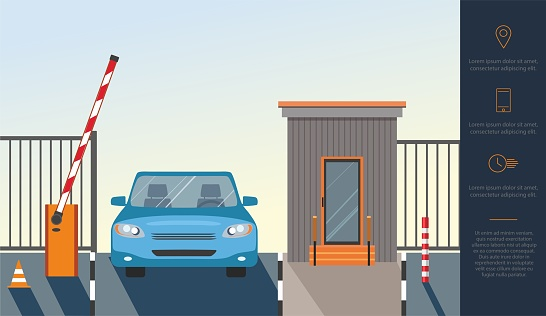 Automatic Rising Up Barrier, automatic system gate for security and blue car.