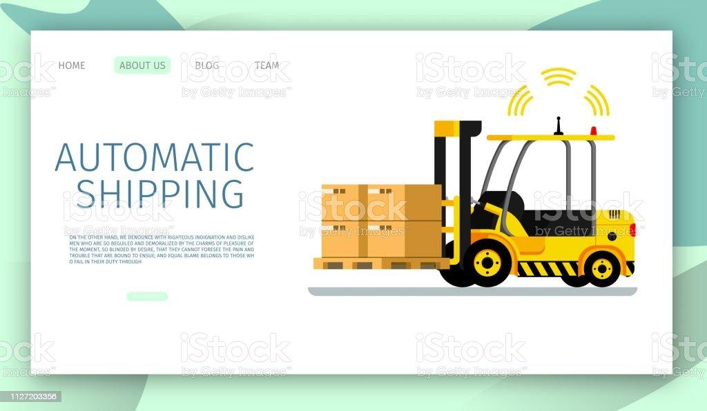 Automatic Shipping Car Lifting Warehouse Cargo Up. Safe Signal Radar...