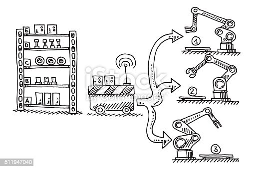 Automatic Supply Semifinished Parts Assembly Line Drawing