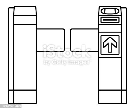istock Automatic ticket gate isolated vector illustration. 1302872468