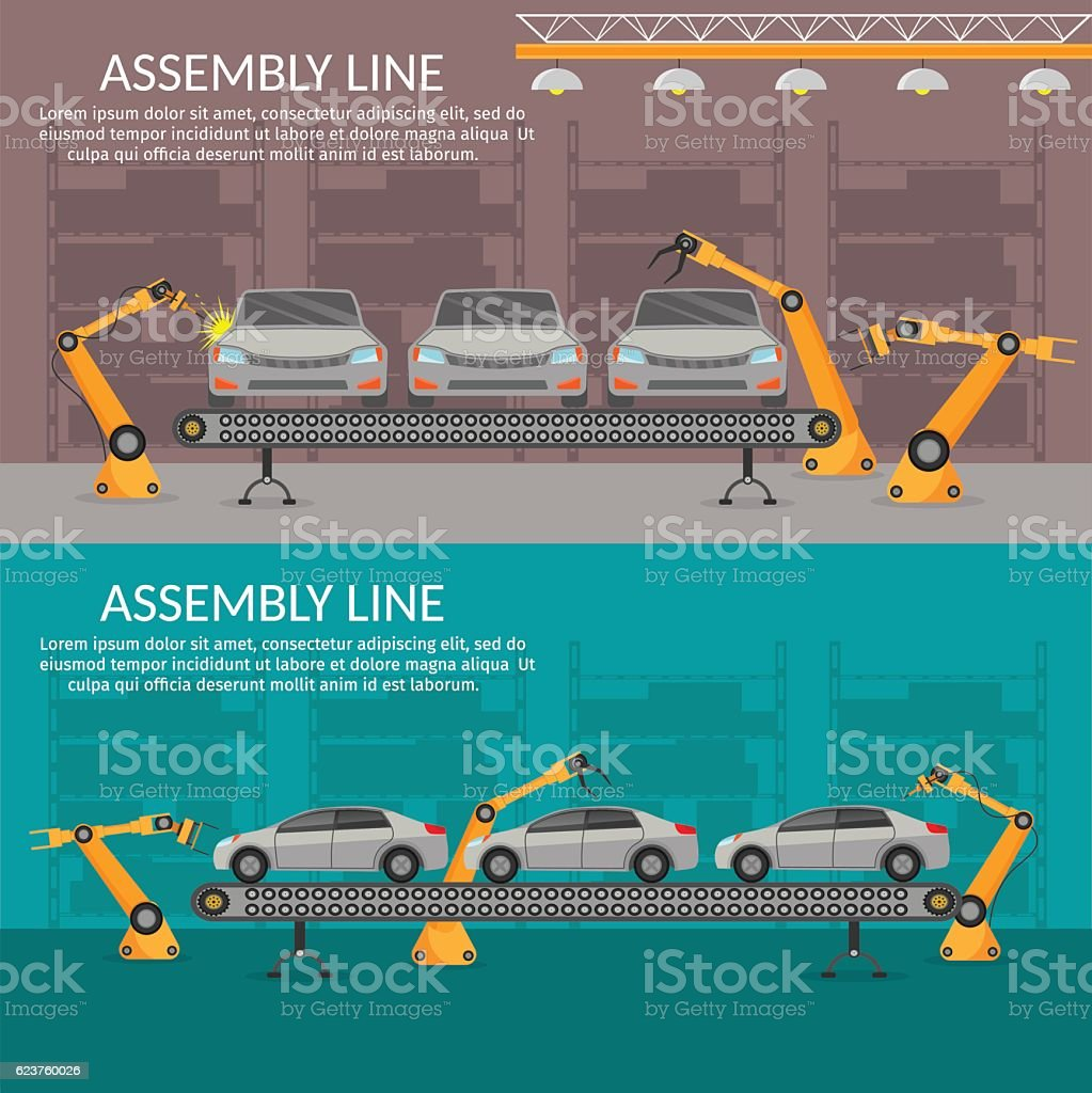 Automation abstract robotic assembly line car flat isolated vector illustration vector art illustration