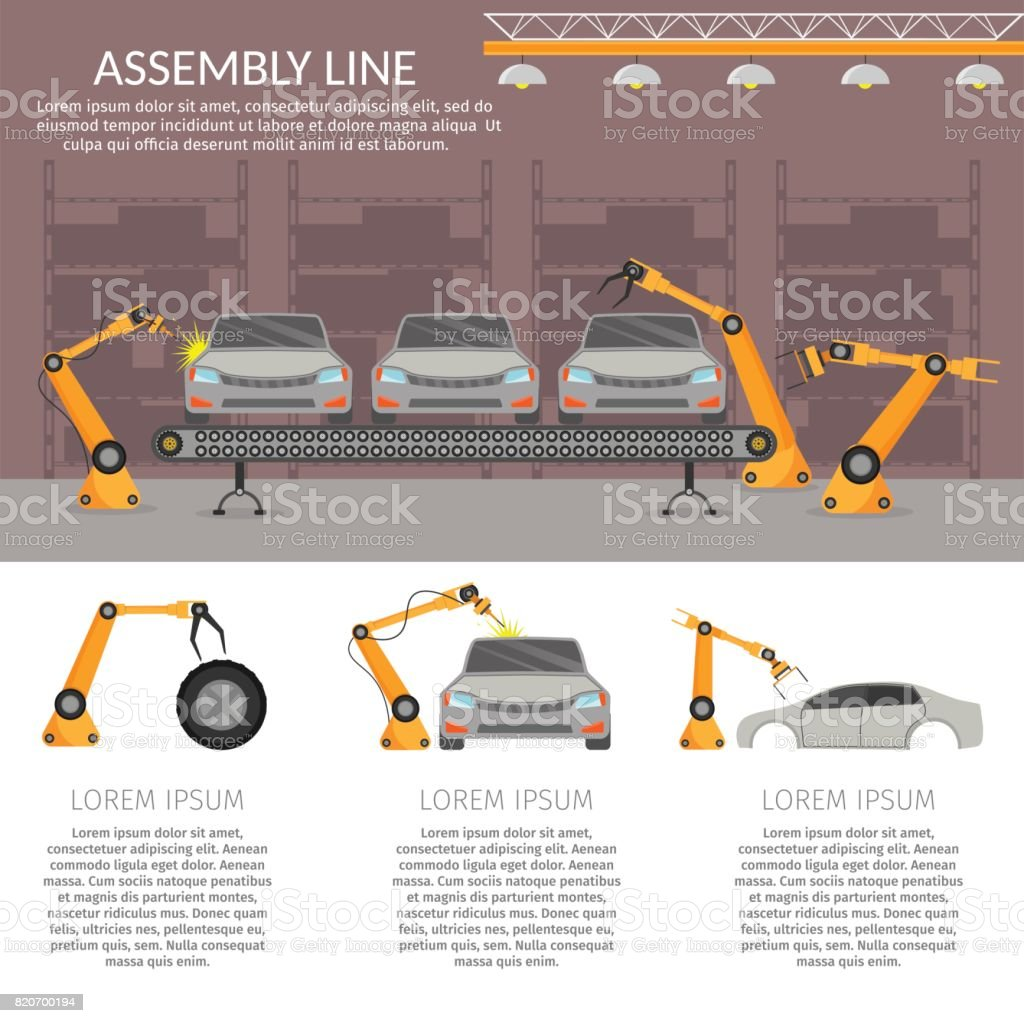 Automation abstract robotic assembly line car set flat isolated vector illustration background vector art illustration