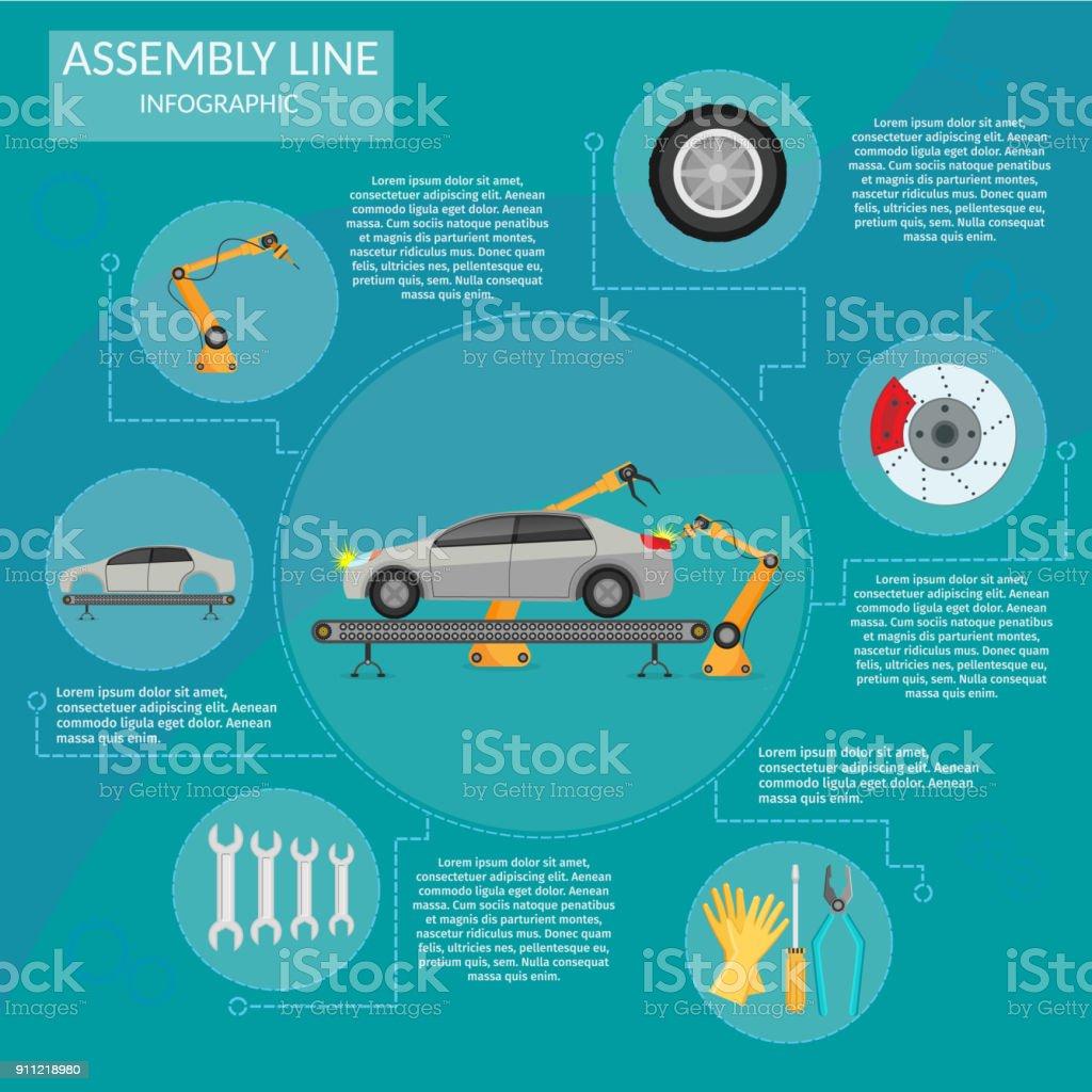 Automatisering abstracte robotic assemblagelijn auto instellen vlakke geïsoleerde vector illustratie achtergrondvectorkunst illustratie