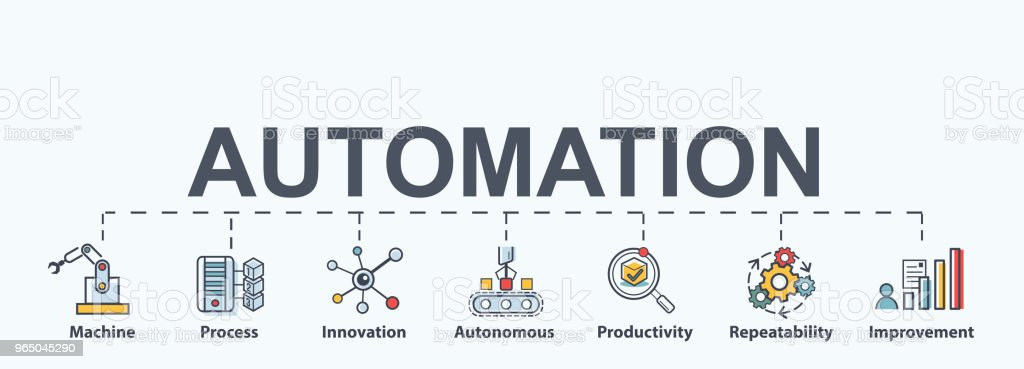 Automation Banner with icons, autonomous, innovation, improvement, industry, productivity, repeatability systems in business processes. automation banner with icons autonomous innovation improvement industry productivity repeatability systems in business processes - stockowe grafiki wektorowe i więcej obrazów asystent royalty-free