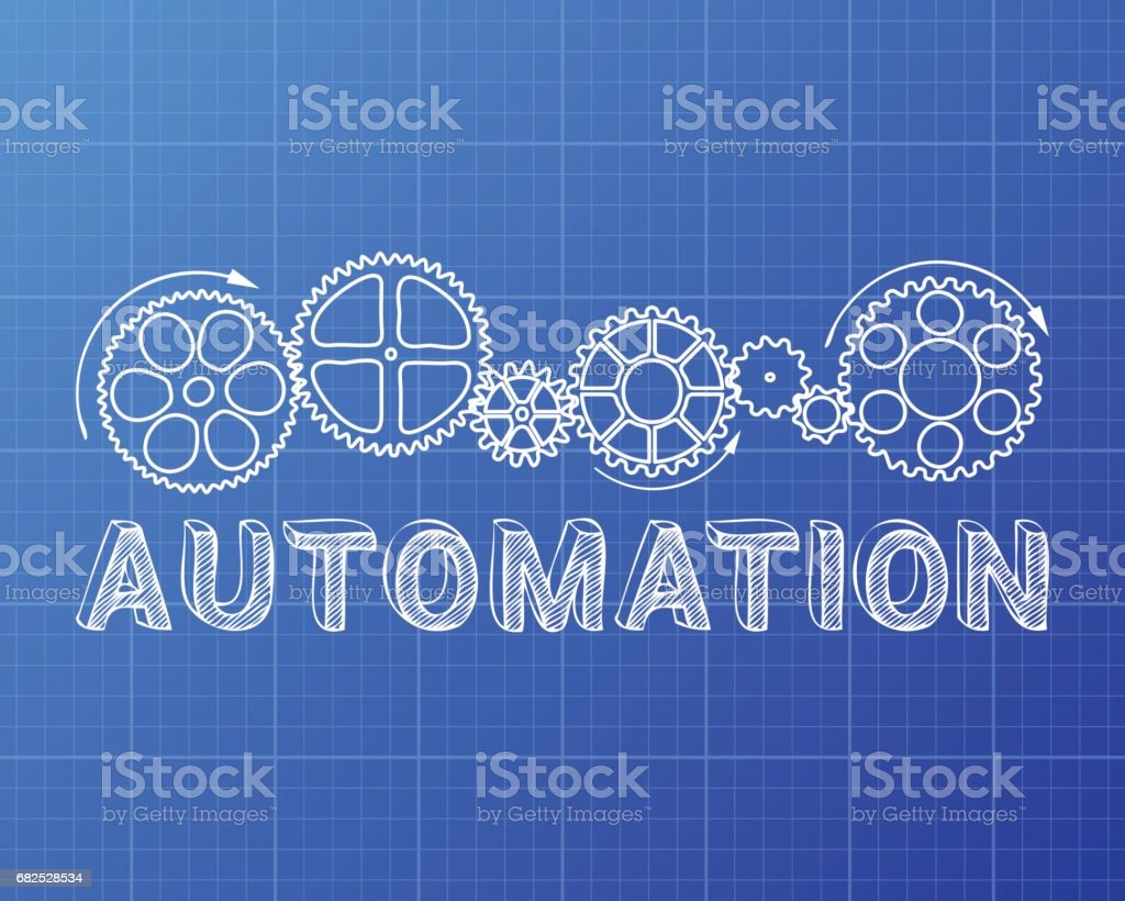 Automation Blueprint vector art illustration