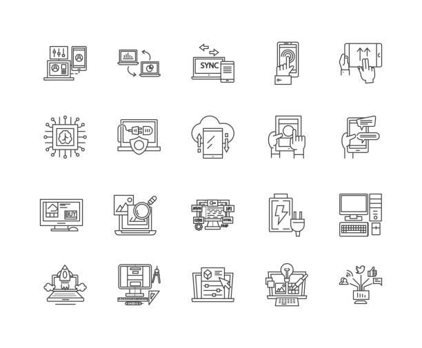ilustrações, clipart, desenhos animados e ícones de linha ícones da automatização, sinais, jogo do vetor, conceito da ilustração do esboço - mobile