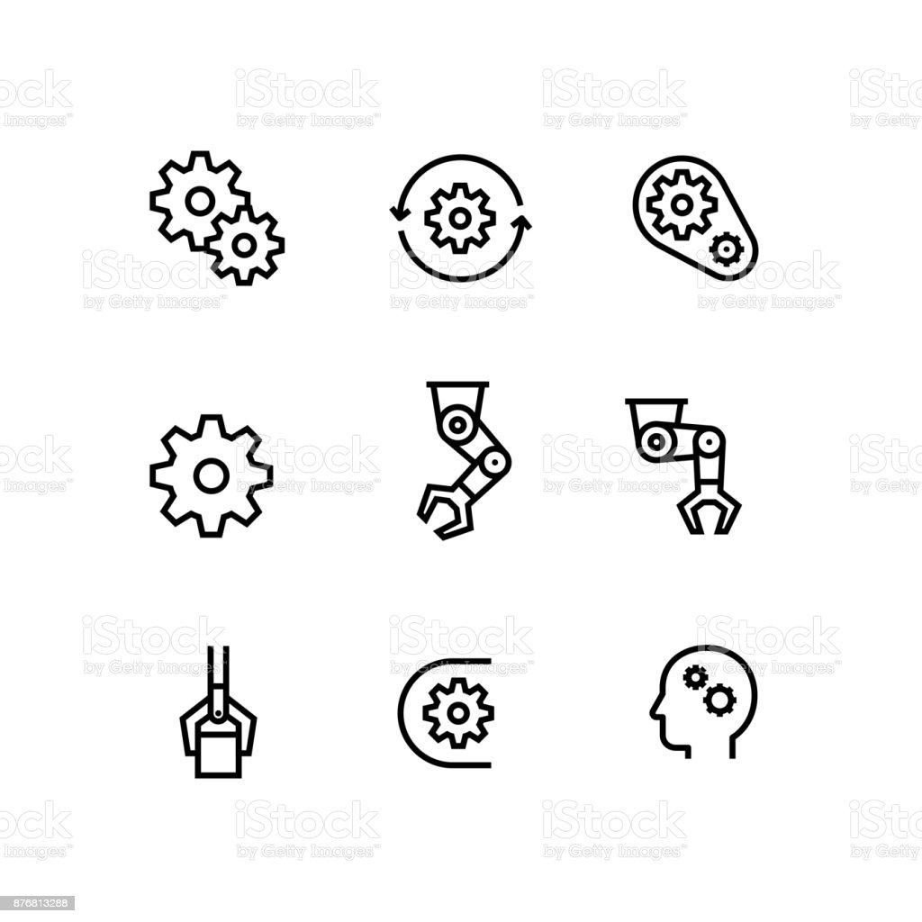 Automation, Manufacturing, Engineer, Production Gear Icon Set vector art illustration