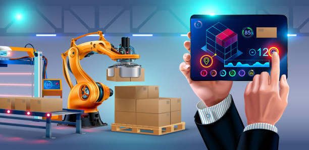 Automation of warehouse on smart factory, the robotic arm loading boxes on pallets. The application on the tablet manages the logistics of the plant. businessman holding a tablet Automation of warehouse on smart factory, the robotic arm loading boxes on pallets. The application on the tablet manages the logistics of the plant. businessman holding a tablet high speed train stock illustrations