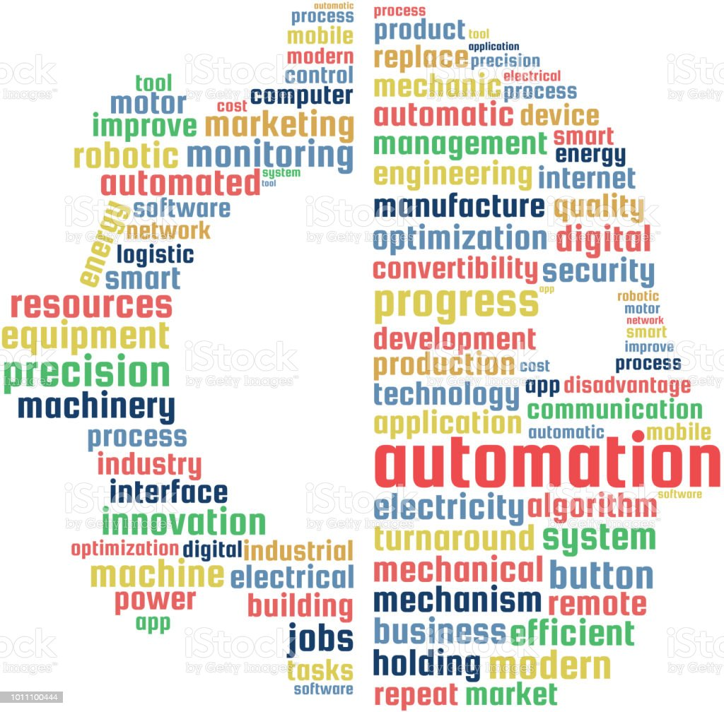 Automation Word Cloud Text Illustration in shape of a gear and human. vector art illustration
