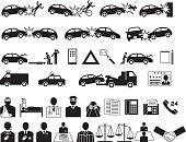 Automobile accident. Traffic accident. Insurance company. icon