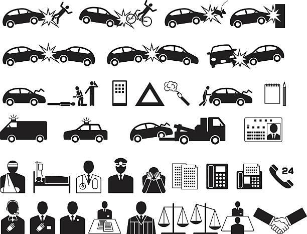 bildbanksillustrationer, clip art samt tecknat material och ikoner med automobile accident. traffic accident. insurance company. icon - krockad bil