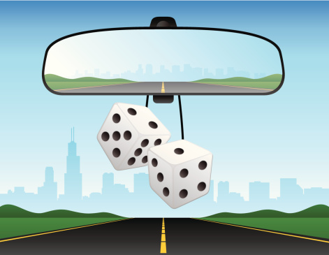 Automobile Car Rearview Mirror Dice Interstate Freeway Vector Illustration