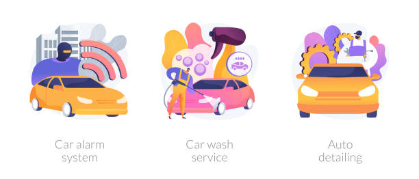 Automobile care service abstract concept vector illustrations. Automobile care service abstract concept vector illustration set. Car alarm system, car wash service, auto detailing, anti-theft, automatic wash, full service, vehicle detailing abstract metaphor. volume fluid capacity stock illustrations