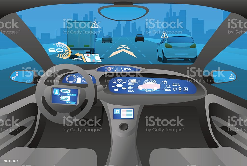 Automobile cockpit, various information monitors and head up displays. vector art illustration