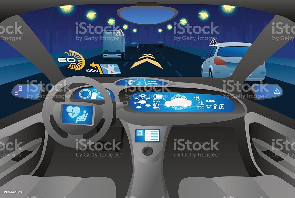 Automobile cockpit, various information monitors and head up displays. – Vektorgrafik