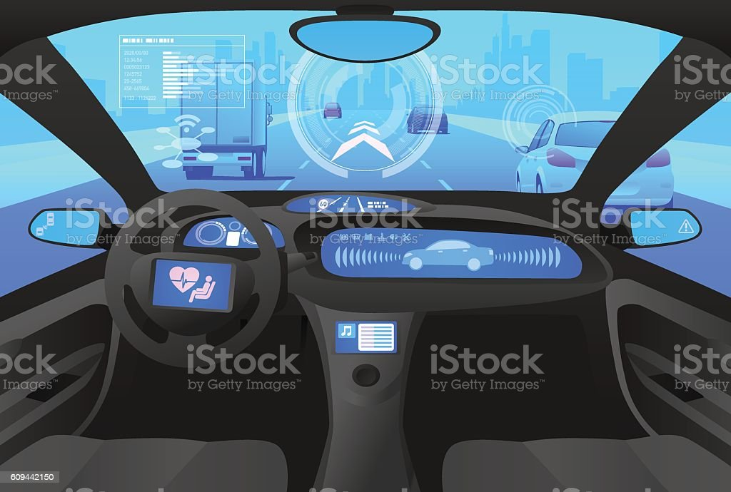 Automobile cockpit, various information monitors and head up displays. ベクターアートイラスト