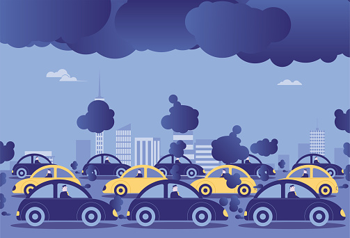 Automobile exhaust pollutes cities, saving energy and reducing emissions