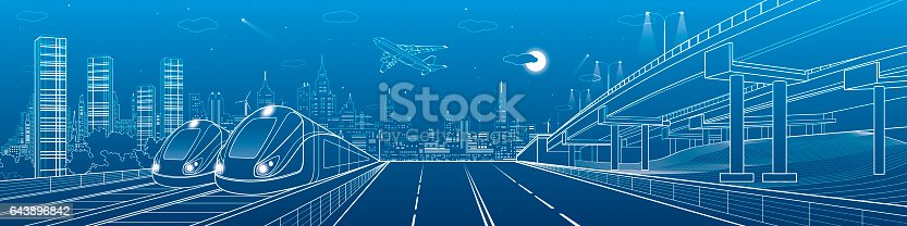 istock Automobile highway, infrastructure and transportation panorama, airplane fly, train move on the bridge, two locomotives in depot, night city, towers and skyscrapers, urban scene, vector design art 643896842
