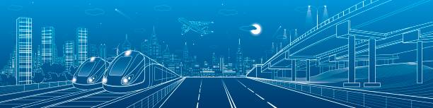 Automobile highway, infrastructure and transportation panorama, airplane fly, train move on the bridge, two locomotives in depot, night city, towers and skyscrapers, urban scene, vector design art vector art illustration