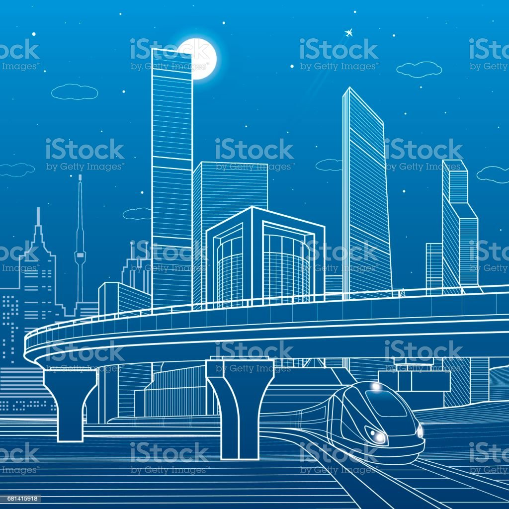 Automobile highway, infrastructure and transportation scene, train move, night city, towers and skyscrapers, airplane fly, urban illustration, vector design art royalty-free automobile highway infrastructure and transportation scene train move night city towers and skyscrapers airplane fly urban illustration vector design art stock vector art & more images of airplane