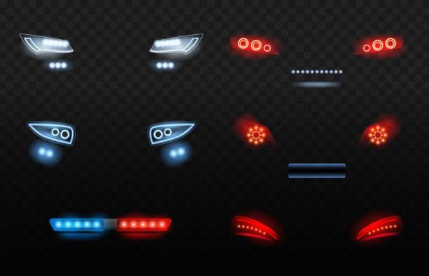 stockillustraties, clipart, cartoons en iconen met auto led licht. rode en witte auto koplampen in nacht politie auto vector realistische verlichting - mist donker auto