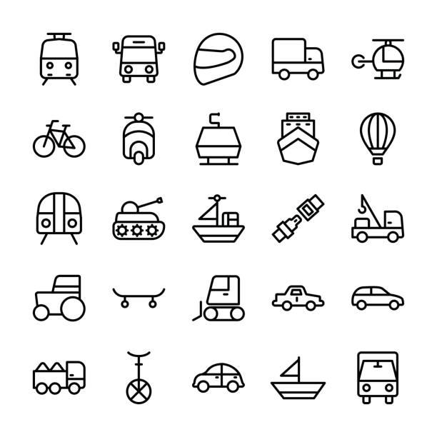 bildbanksillustrationer, clip art samt tecknat material och ikoner med bil linje vector ikoner 1 - traktor pulling