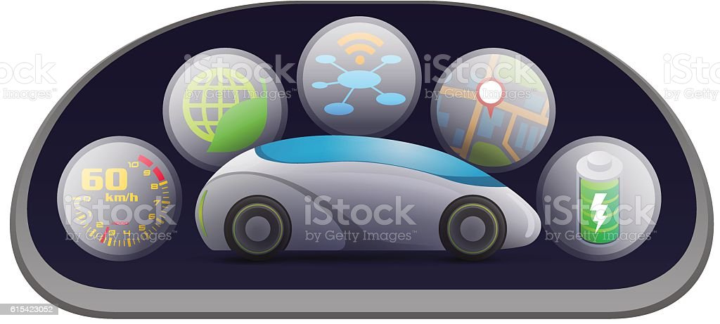 automobile meter panel interface vector art illustration