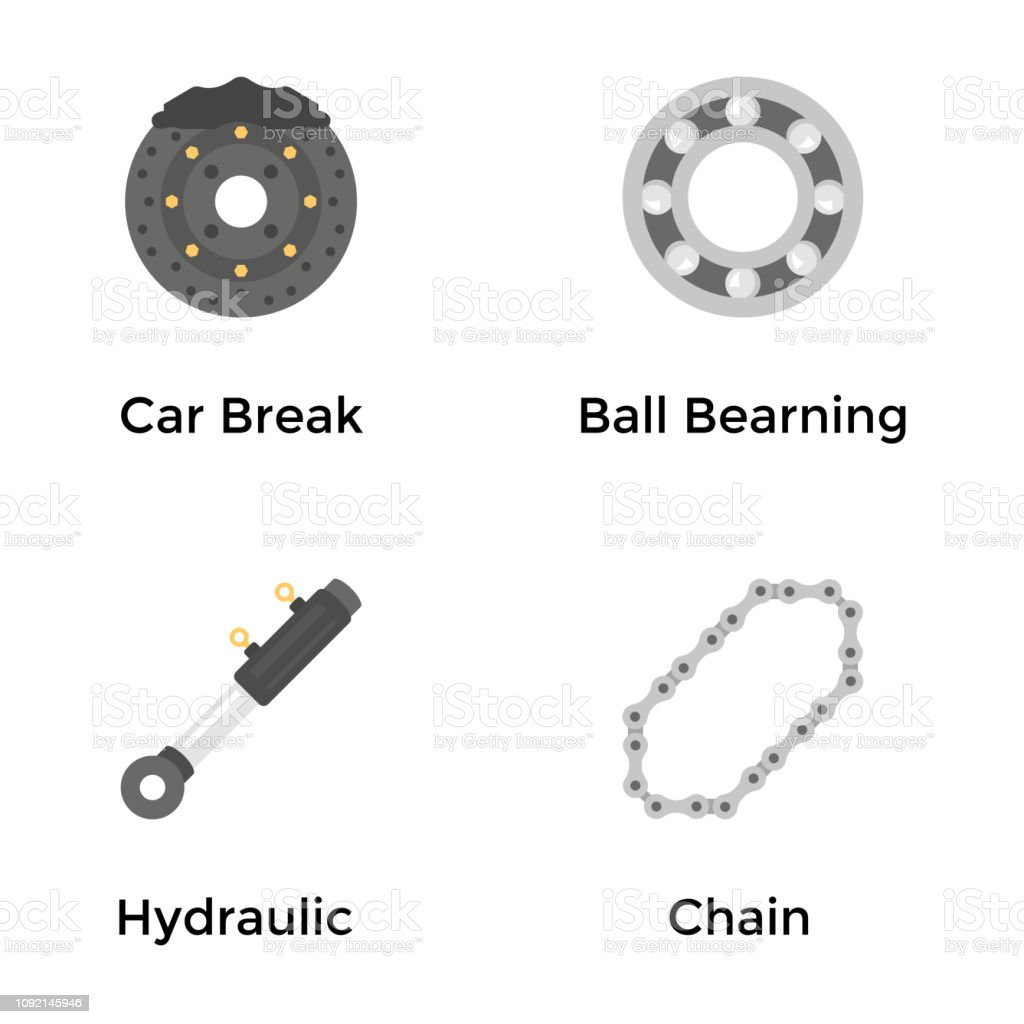 Automobile Parts and Services Flat Icons Set vector art illustration