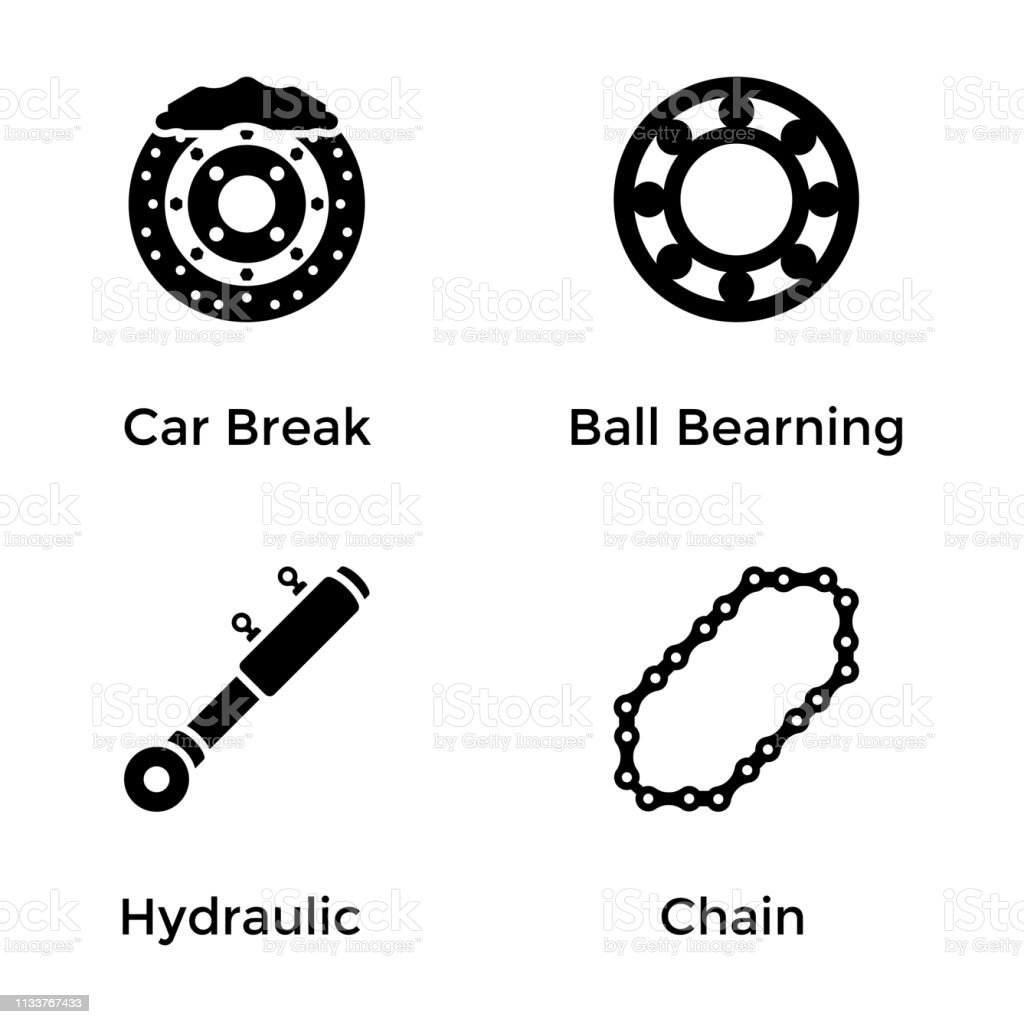 Automobile Parts and Services Glyph Icons Set vector art illustration
