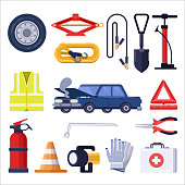 Automobile road emergency kit. Car repair and safety tools. Vector flat illustration.