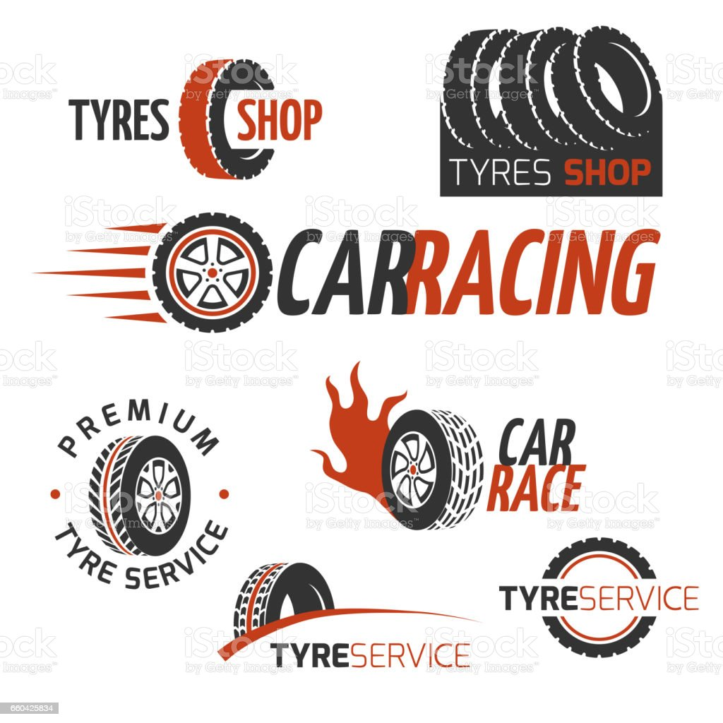 Automobile rubber tire shop, car wheel, racing vector logos and labels set vector art illustration