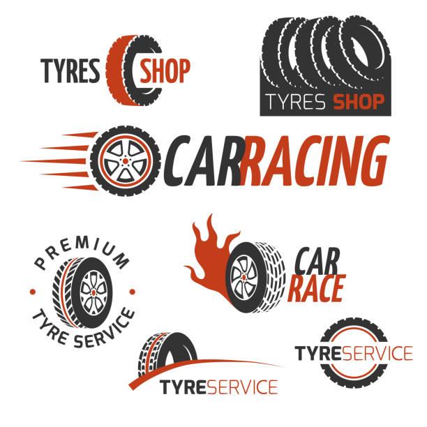 ilustraciones, imágenes clip art, dibujos animados e iconos de stock de gomería de automóvil de goma, rueda de coche, carreras vector conjunto de logotipos y etiquetas de - tires