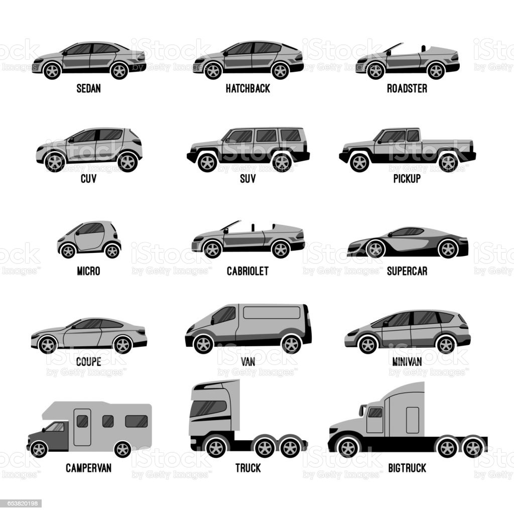Automobile Set Isolated Car Models Of Different Sizes Or Capabilities Stock Vector Art & More ...