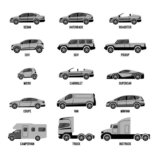 Automobile set isolated. Car models of different sizes or capabilities Automobile set isolated on white. Machines models of different sizes or capabilities. Typical configurations of sedan and hatchback, types of trucks and roofless car. Luxury and domestic cars vector cuverville island stock illustrations
