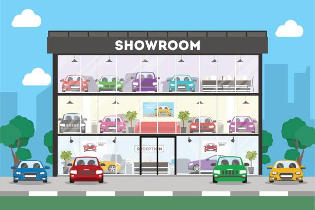 Automobile showroom building. Automobile showroom building on white background. Cars, salesmen and visitors. car salesperson stock illustrations