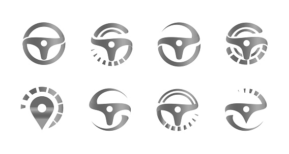 Automobile steering wheels, set of abstract icons, logo template for car service, auto repair shop emblems, tire fitting symbols, racing competitions and tuning studios logotype collection.