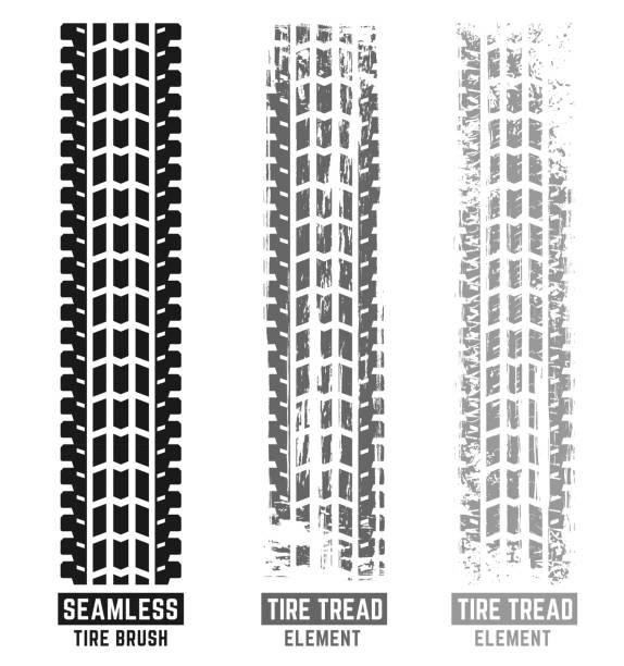 illustrazioni stock, clip art, cartoni animati e icone di tendenza di automobile tire tracks brush - bike tire tracks