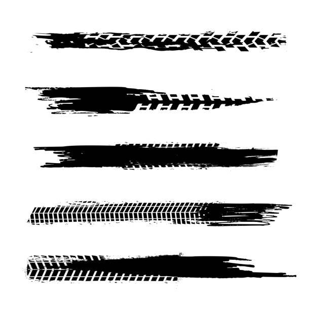 illustrazioni stock, clip art, cartoni animati e icone di tendenza di automobile tire tracks - bike tire tracks