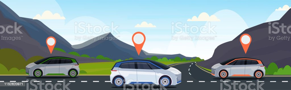 automobile with location pin on road online ordering taxi car sharing...