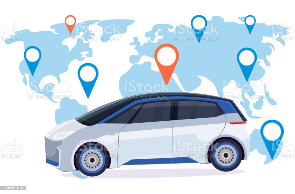 automobile with location pin online ordering taxi car sharing concept...