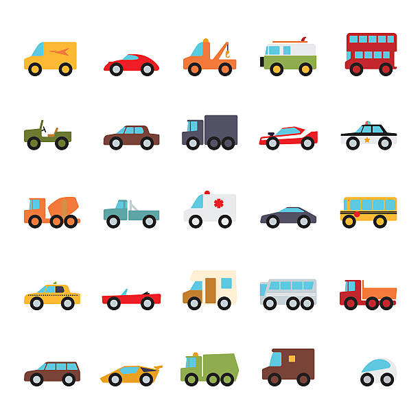 Automobiles Flat Design Vector Icons Collection Set of 25 cars, vans and other motor vehicles flat design icons on white background police car stock illustrations