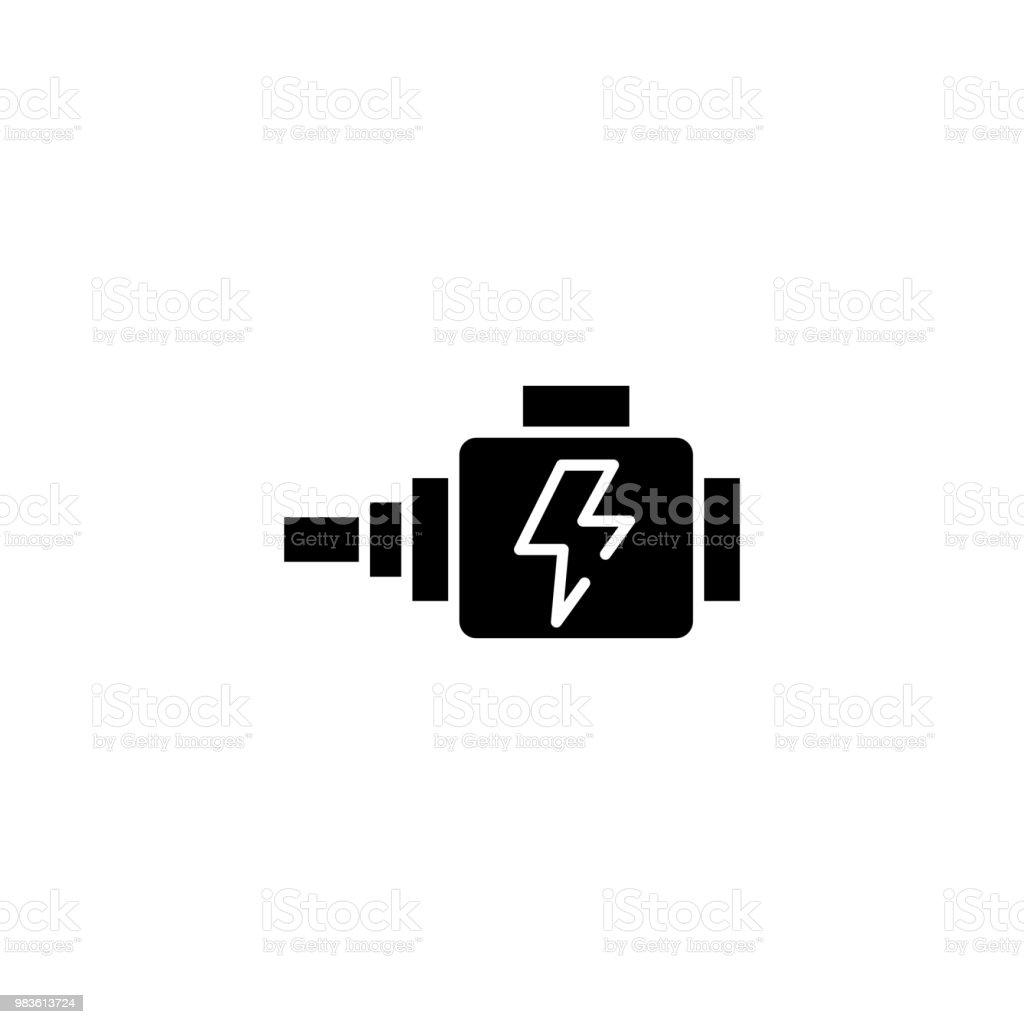 Automotive alternator black icon concept. Automotive alternator flat  vector symbol, sign, illustration. vector art illustration