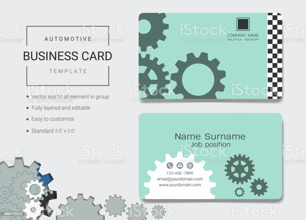 Automotive Business Card Or Name Card Template Simple Style Also - Easy business card template