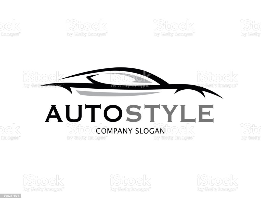 automotive car logo design with abstract sports vehicle