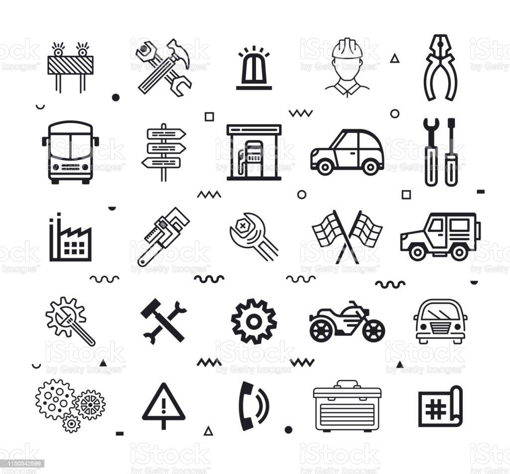 Automotive customer experience outline style symbols on white...