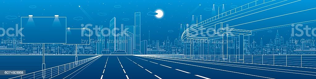 Automotive flyover, architecture and infrastructure panorama, transport overpass vector art illustration
