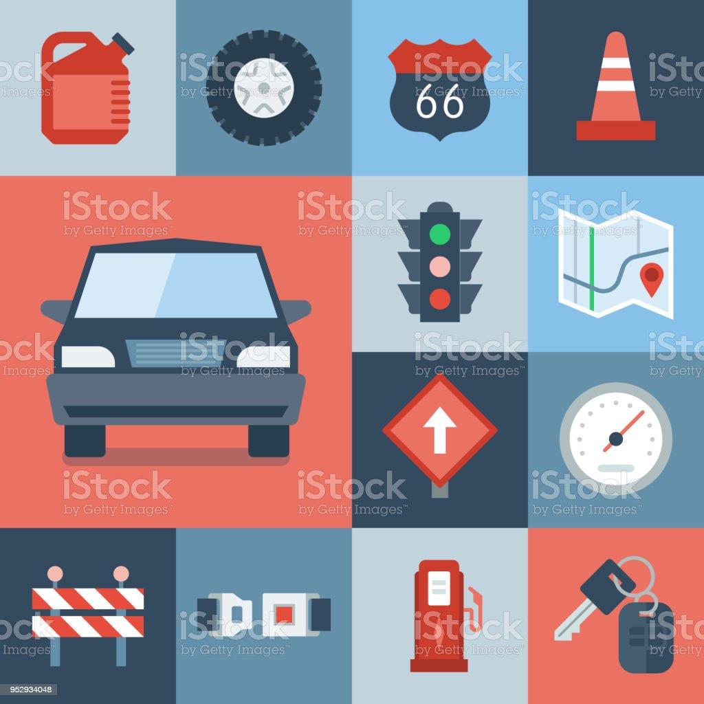 Automotive Icon Set — Grid Series vector art illustration
