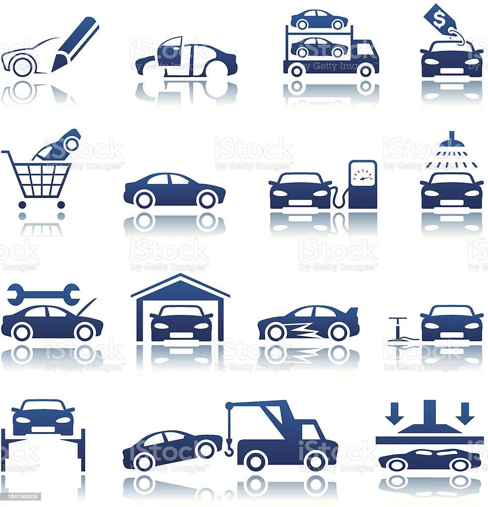 Automotive icon set vector art illustration