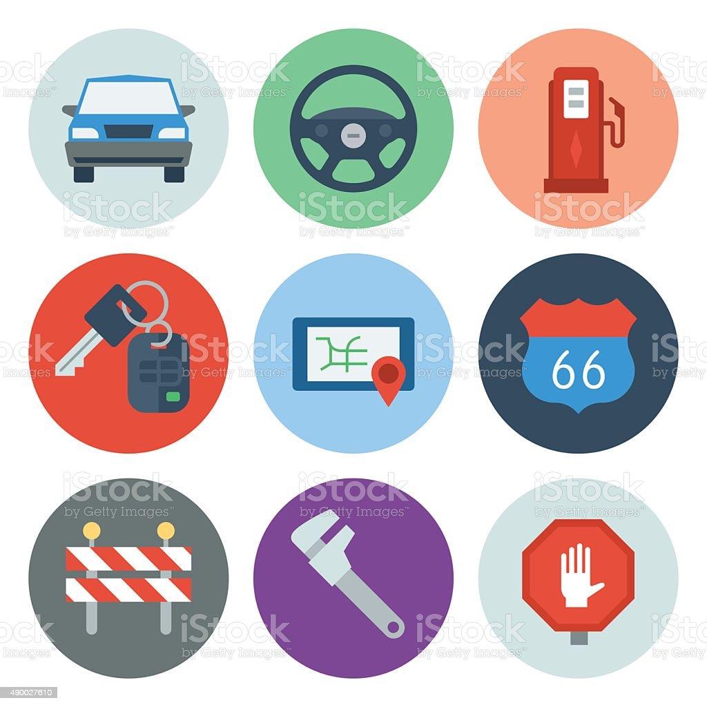 Automotive Icons 1 — Circle Series vector art illustration