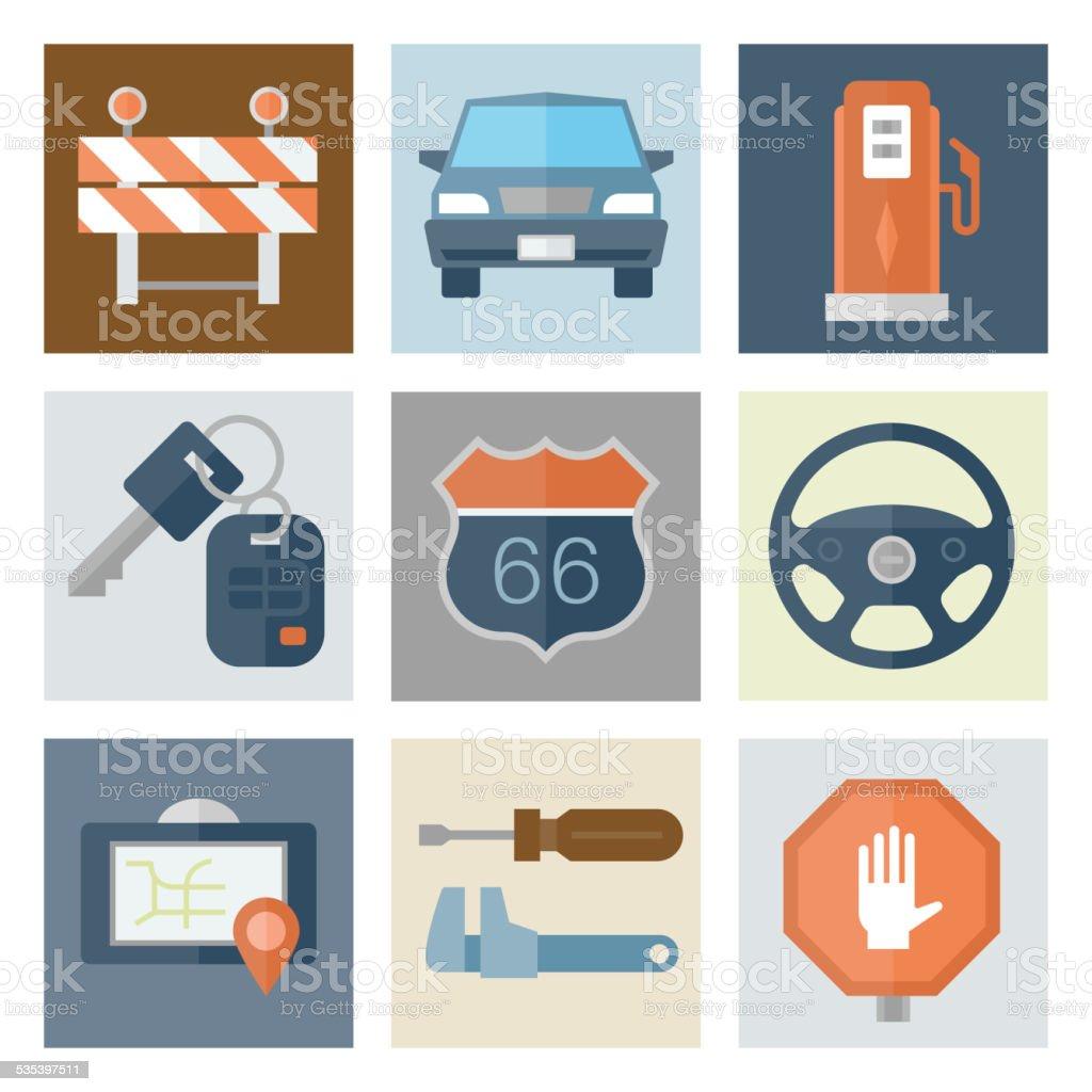 Automotive Icons 1 — Flat Series vector art illustration
